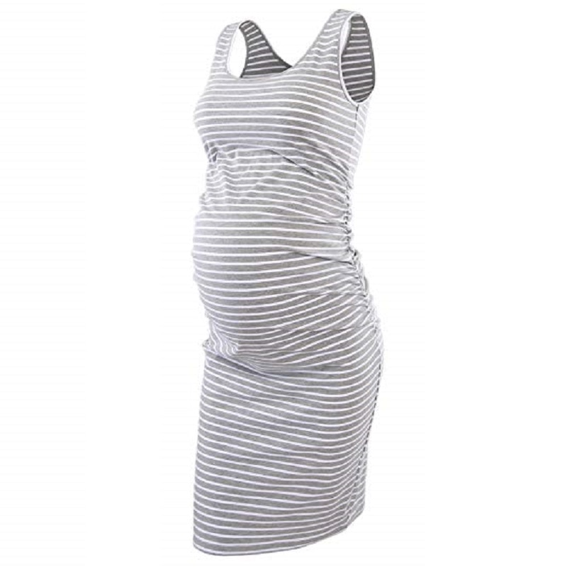 Women Maternity Dress Floral//Stripe Sleeveless Dress Summer Bodycon Knee Length Dress for Daily Wearing